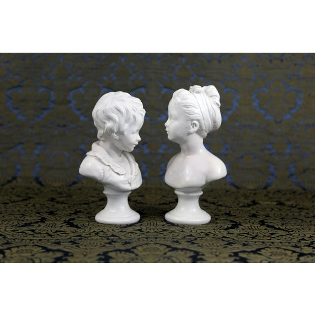 1950s Vintage Porcelain Borghese Boy and Girl Busts by Houdon F. Kessler - a Pair For Sale - Image 5 of 10