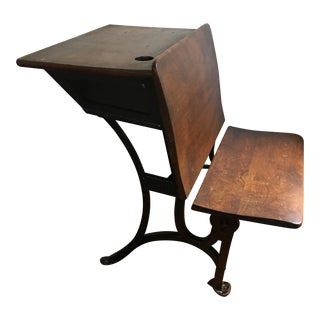 1916 Early American Heywood Wakefield School Desk For Sale
