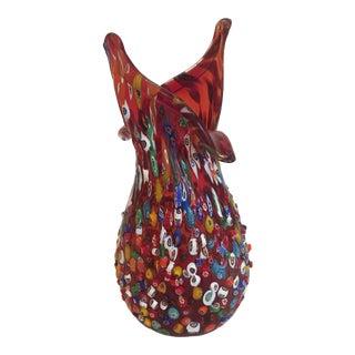 Murano Art Glass Red Vase For Sale