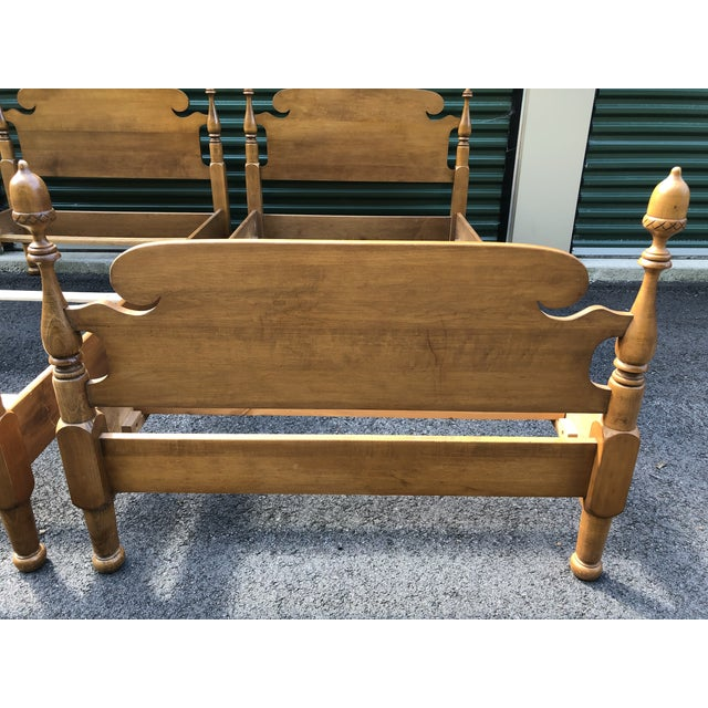 Solid Maple Vintage Acorn Top Twin Beds- a Pair For Sale In Boston - Image 6 of 13