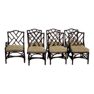 David Francis Chinese Chippendale Rattan Faux Bamboo Dining Chairs- Set of 6 +1 Arm Chair = Seven For Sale