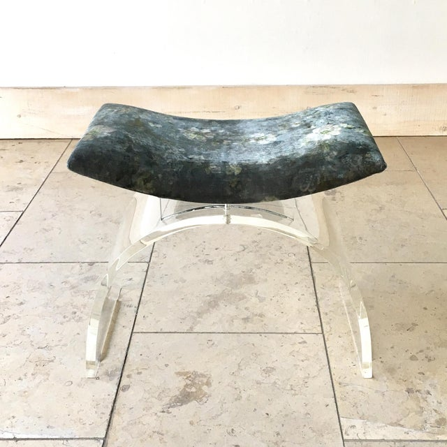 Single Waterfall Lucite Framed Velvet Upholstered Stool 1980s newly reupholstered by Talisman NB: These items are subject...