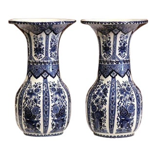 Pair of Mid-20th Century Belgium Blue and White Hand-Painted Delft Vases For Sale