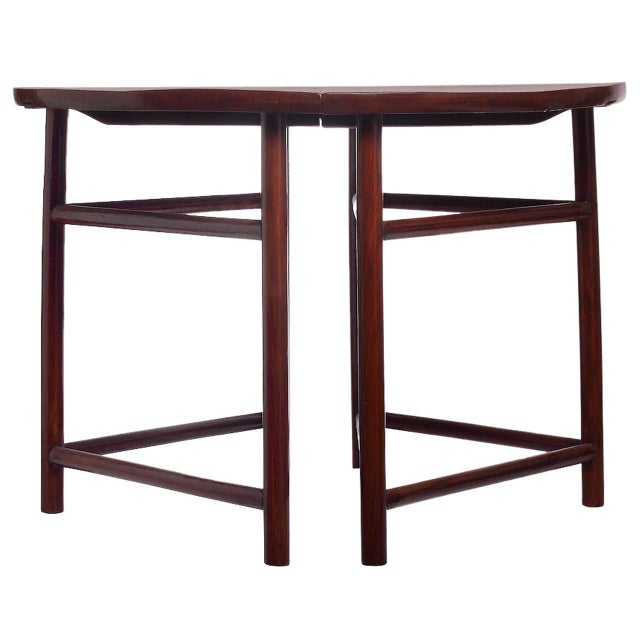 Mid 19th Century Pair of Antique Qing Dynasty Elmwood Demilune Tables from China, 19th Century For Sale - Image 5 of 5