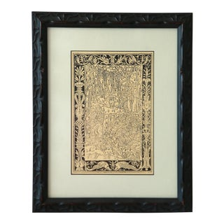 Gothic Print in Custom Framed Italian Wood Frame & Mat For Sale