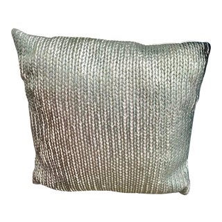 Knit Turquoise Silver Metallic Finish Pillow