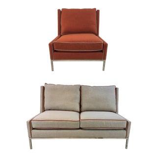 Modern Drexel Heritage McIntosh Chair & Loveseat Set For Sale