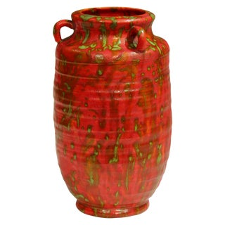 Awaji Pottery Atomic Chrome Red Art Deco Hot Lava Japanese Vase For Sale