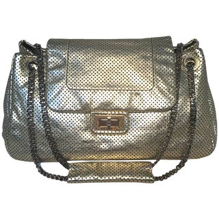 Chanel Gold Perforated Leather Classic Flap Shoulder Bag For Sale