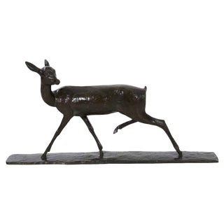 """Doe in Stride"" Bronze Sculpture by Andre-Vincent Becquerel (French, 1893-1981) For Sale"