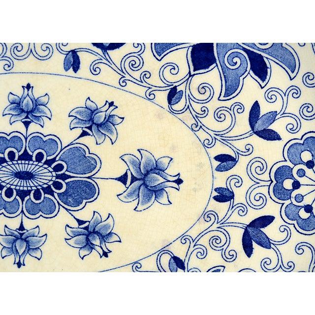 "Cottage Mason's Bow Bells Blue 13"" Oval Serving Platter For Sale - Image 3 of 6"