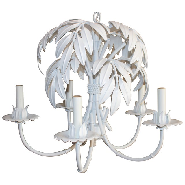 Faux Bamboo & Palm Frond Tole Chandelier - Image 6 of 6
