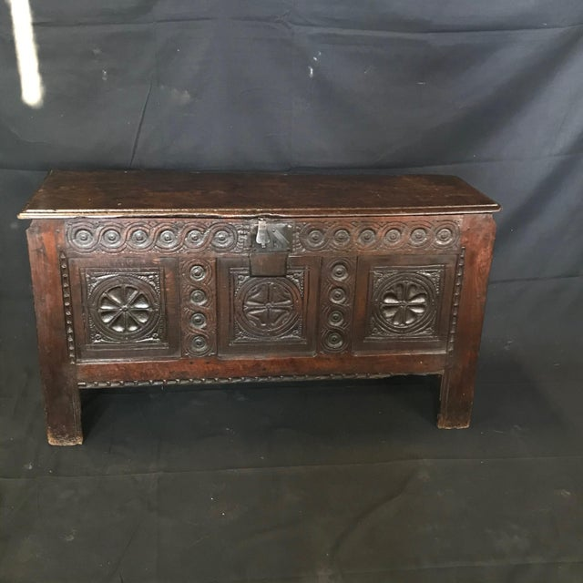 Early 18th Century Antique French Carved Coffer Chest For Sale - Image 13 of 13