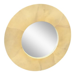 Round Goatskin Mirror For Sale
