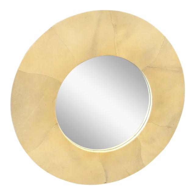 Round Goatskin Mirror For Sale
