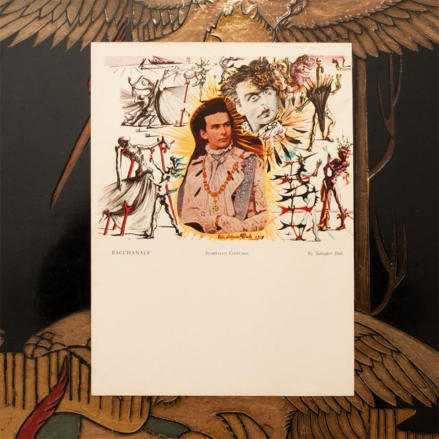 Extremely rare, original two-sided offset lithograph after Surrealist Setting and Surrealist Costumes for Bacchanale...
