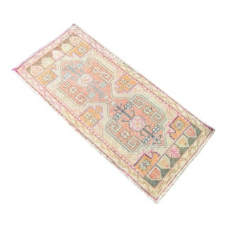 Low Pile Turkish Small Rug Yastik Hand Knotted Faded Mat Distressed Pale Rug - 19″ X 40″ For Sale