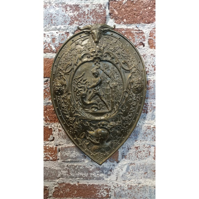 Gothic Vintage Mythological Bronze Wall Plaque Shields - A Pair For Sale - Image 3 of 9