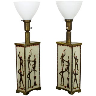 Art Deco Super Rare Maurice Heaton Pair of Four-Panel Tribal Table Lamps Glass For Sale