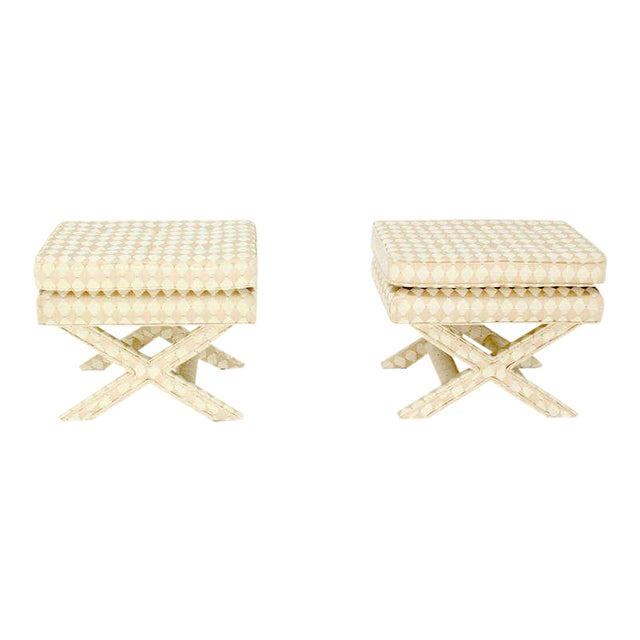 Pair of Mid-Century Modern X-Base Billy Baldwin Benches For Sale