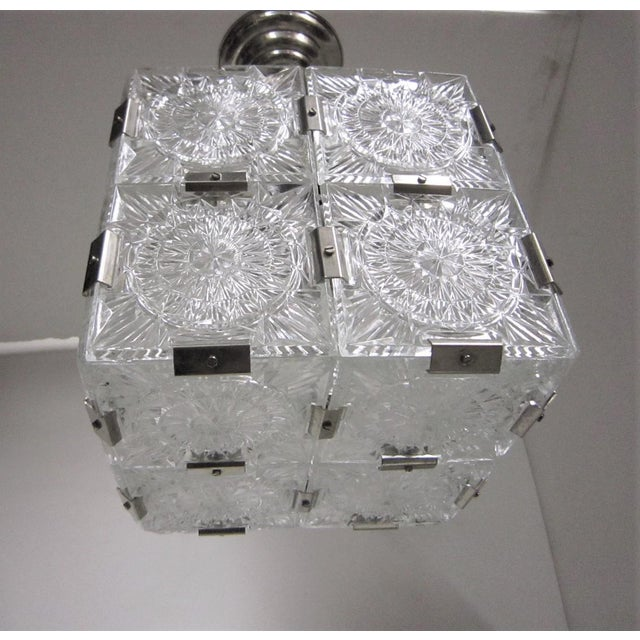 Original Cut Glass With Nickeled Clips Box Cube Pendant Lights - Set of 3 For Sale - Image 11 of 12