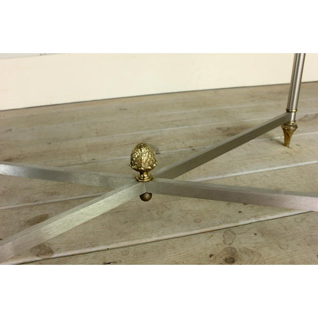 Maison Jansen Vintage Brass Brushed Nickel X Base Coffee Table For Sale - Image 4 of 7