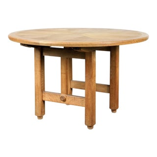 French Oak Dining Table by Guillerme Et Chambron For Sale