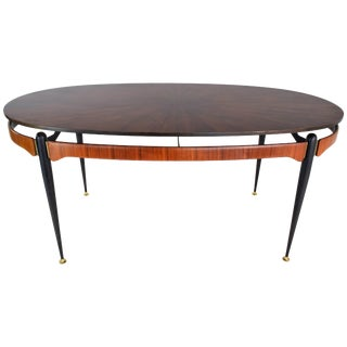 Italian Midcentury Oval Dining Table, 1950s For Sale