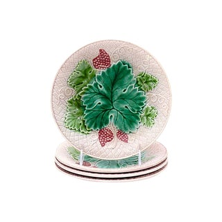 1920s French Majolica Strawberry Plates - S/4 For Sale