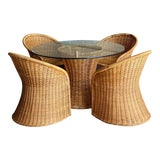 Image of 1960s Trompe L' Oeil Wicker Rattan Dining Set – 5 Pieces For Sale