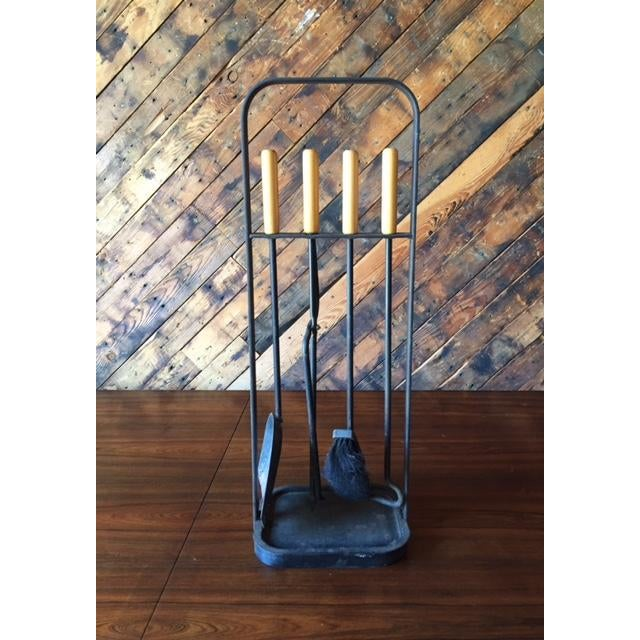 Vintage Modernist Iron Birch Fireplace Tool Set - Image 2 of 6
