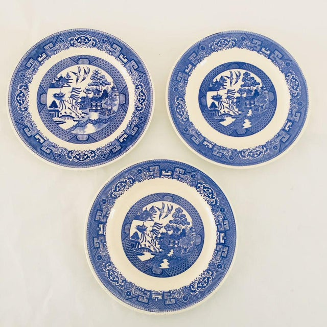 Vintage Blue Porcelain Willow Plates - Set of 3 For Sale In New York - Image 6 of 6