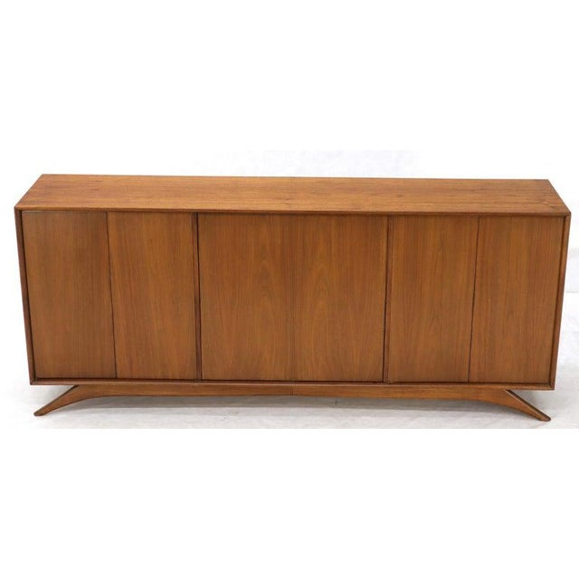 Swivel Centre Bar Walnut Mid-Century Modern Credenza Sideboard Sculptural Legs For Sale - Image 12 of 13