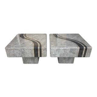 M.Smith Stone & Brass Side Tables/Pair For Sale