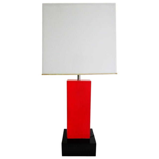Black And Red Lacquer Large Geometric Lamp - Image 1 of 4