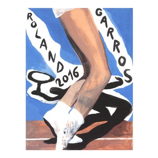 "Marc Desgrandchamps Roland Garros French Open Signed 31"" X 23"" Offset Lithograph 2016 Contemporary Blue For Sale"