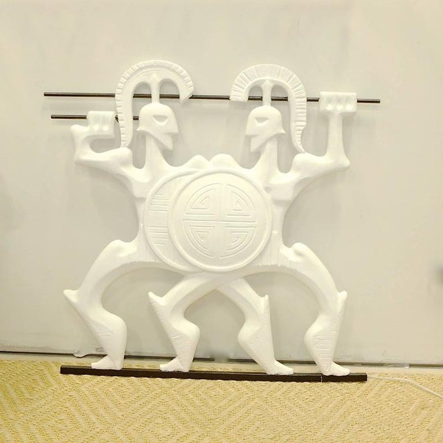 Frederick Weinberg cast plaster wall-mounted sculpture of Roman gladiators complete with locked shields and Etruscan...