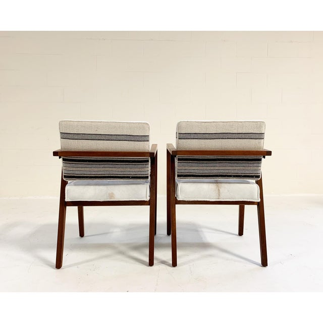 Franco Albini for Knoll Model 48 Chairs in Calfskin and Isabel Marant Silk Wool For Sale - Image 9 of 9