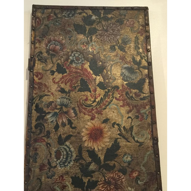 Antique French Handpainted Leather Screen Panel - Image 6 of 6