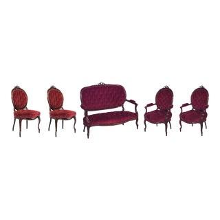 French Victorian Red Velvet Living Room Set - 5 Piece Set For Sale