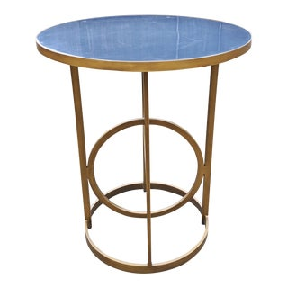 Contemporary Gabby Home Blue & Bronze Gueridon Center Table For Sale