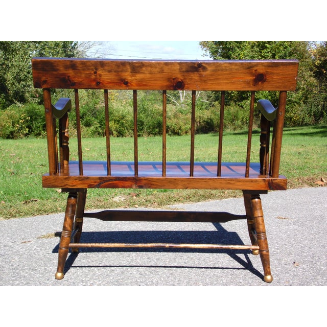 Brown Vintage Spindle Back Harvest Stenciled Solid Pine Farmhouse Bench Settee For Sale - Image 8 of 13