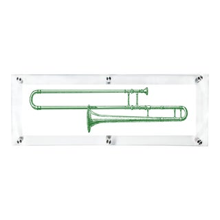 Mitchell Black Home Green Trombone Art For Sale