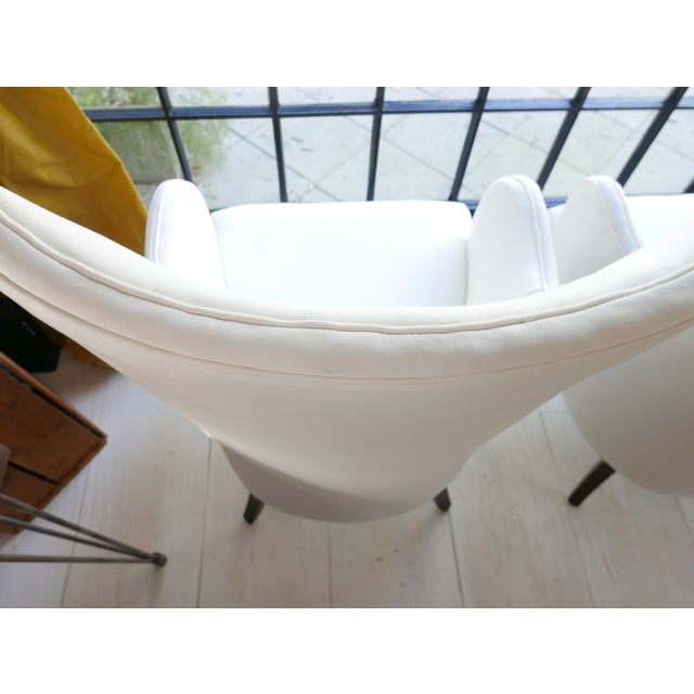 Vintage Mid-Century White Armchairs- A Pair For Sale - Image 9 of 11