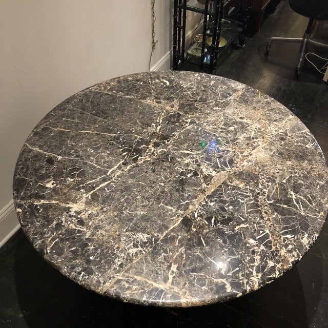 1970s Italian Marble Table / Brass Base Table For Sale - Image 5 of 10