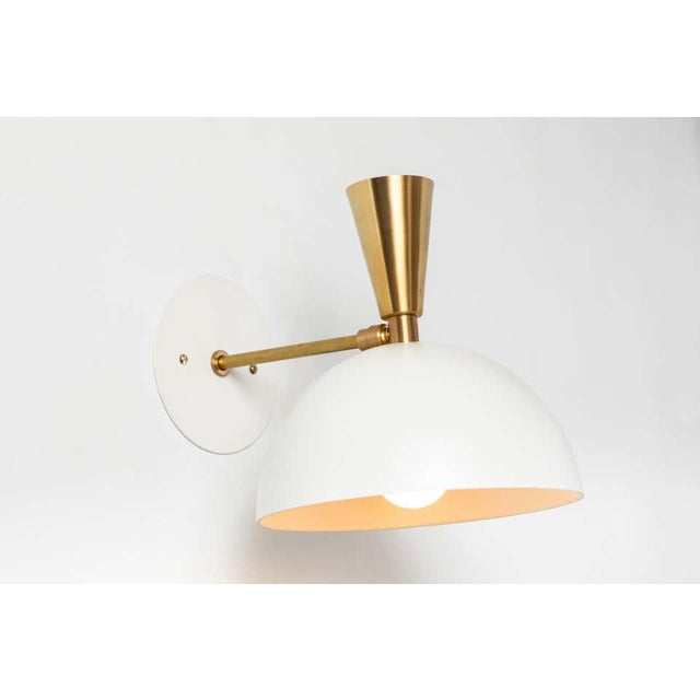 Pair of Large 'Lola II' Sconces in White Metal and Brass. Hand-fabricated by Los Angeles based designer and lighting...