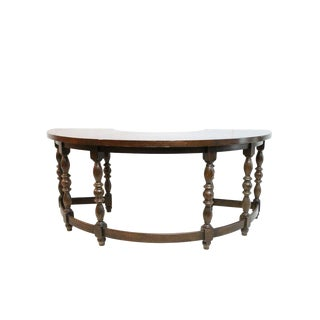 English Oak Half Round Desk For Sale