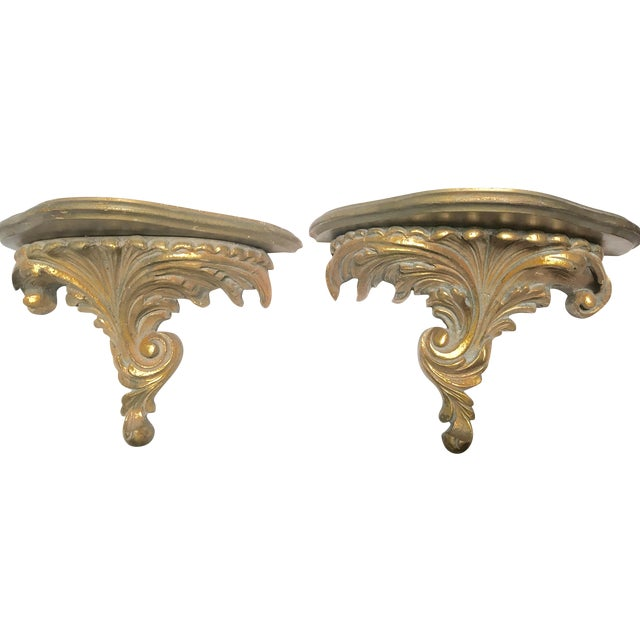 Gilt Wood Carved Italian Brackets - A Pair - Image 1 of 5
