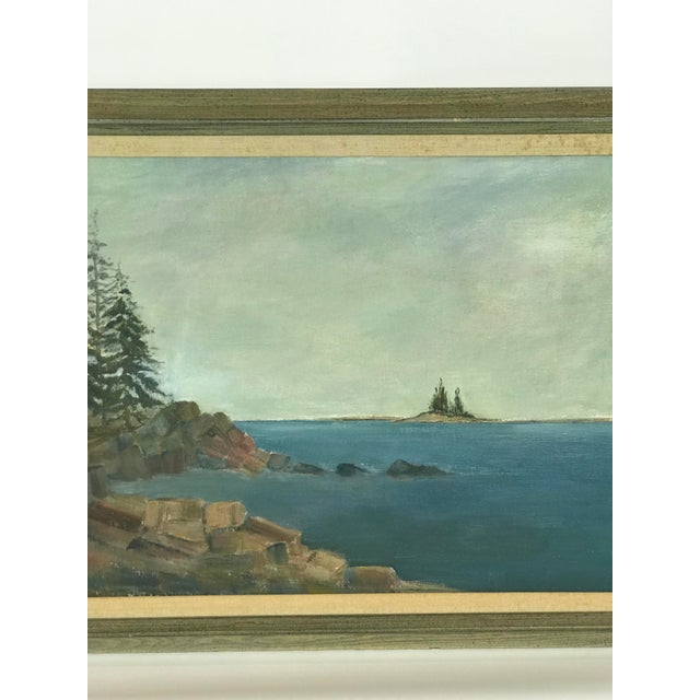1960s Vintage Scenic Ocean Oil on Canvas Painting For Sale - Image 4 of 11