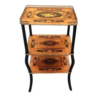 19th Century Antique French Inlaid 3 Tier Rosewood Bronze Gallery Table Stand For Sale